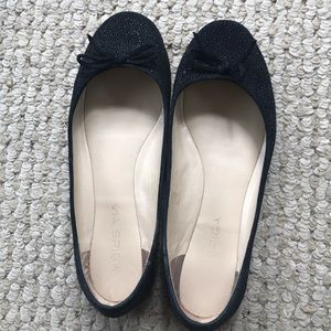 Via Spiga black flats with bow tie